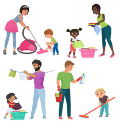 adults and kids cleaning together children vector image