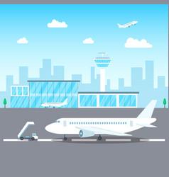 airport passenger terminal concept on a landscape vector image
