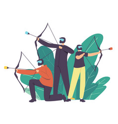 Archery sport concept archer family characters vector