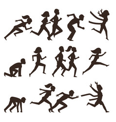 Athletic run man people silhouette jogging summer vector