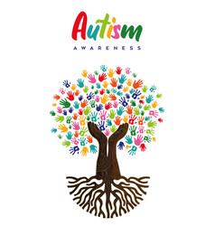 Autism awareness day diverse kid hand tree card vector