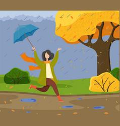 autumn cartoon girl holding an umbrella having vector image