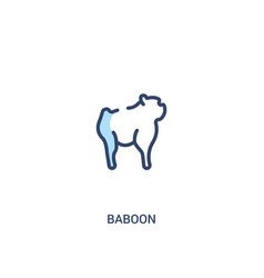 Baboon concept 2 colored icon simple line element vector