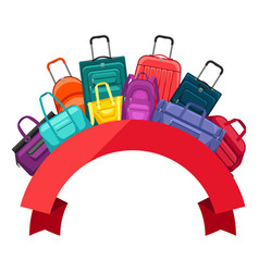 background with travel suitcases and bags vector image