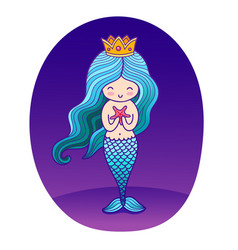 Beautiful little princess mermaid with starfish vector
