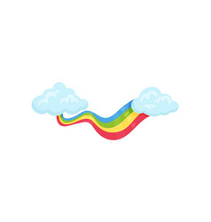 blue clouds with multicolored rainbow wall decor vector image