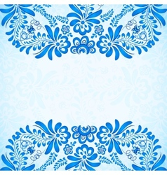 blue greeting card template with floral pattern vector image