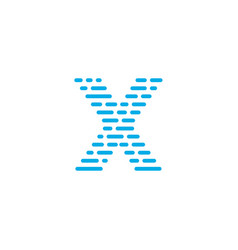 blue stripes logo letter x vector image