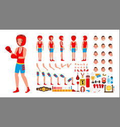 Boxing player animated character creation vector