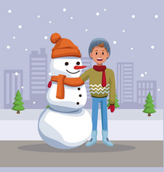 boy with snowman cartoon vector image