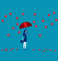 businesswomen under a coin rain concept business vector image