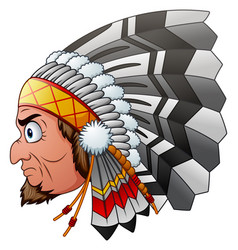 cartoon indian chief vector image