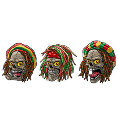 cartoon jamaican rasta skulls with dreadlocks vector image