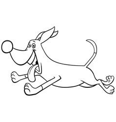 cartoon running dog character coloring book page vector image