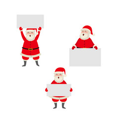 cartoon santa keeping paper in hands set vector image