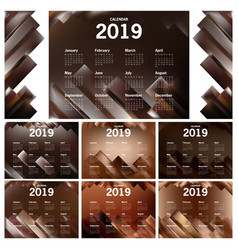 chocolate themed of calendar 2019 vector image