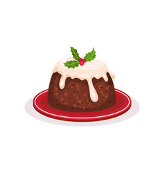 christmas pudding traditional festive dessert vector image
