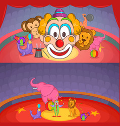 Circus show banner set horizontal cartoon style vector
