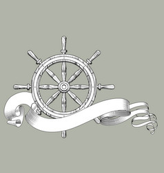 classic marine round wood steering wheel and vector image