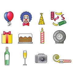 Clown and party icons vector image