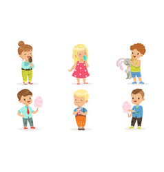 collection cute happy kids enjoying eating ice vector image