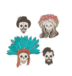 collection human skulls with decorations vector image