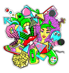 Colorful 90s fashion patches doodle template vector