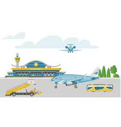 Concept airport banner airstrip with passenger vector
