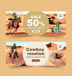 Cowboy banner design with horse cactus chest vector