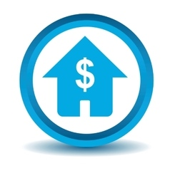 Dollar house icon blue 3d vector