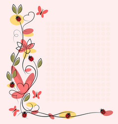 drawing with flowers and insects vector image