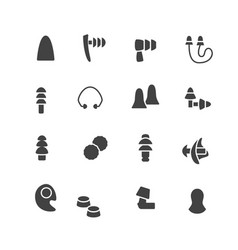 Earplugs flat glyph icons healthy sleep without vector
