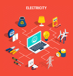 Electricity isometric chart composition vector