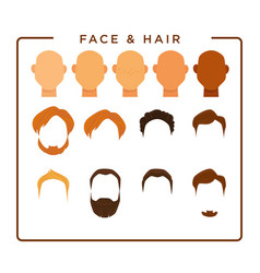 Face and hair for cartoon male character creation vector