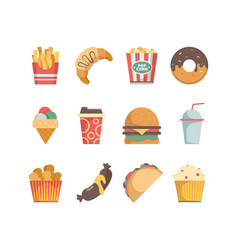 fast food icons hamburger pizza sausages snacks vector image