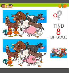 Find differences with farm animal characters vector