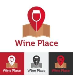 flat wine shop or bar logo set vector image