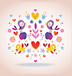 Flowers hearts and birds vector