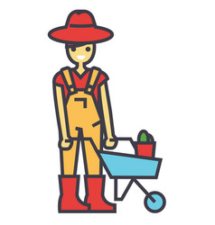 Gardener character working in garden man with vector