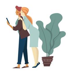 Girlfriends taking selfie on smartphone indoors vector