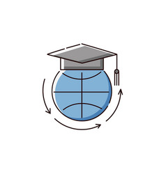 Globe in university hat an icon for online vector