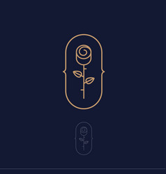 Gold rose logo spa cosmetic emblem vector