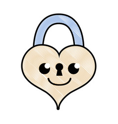 Grated smile heart padlock kawaii personage vector