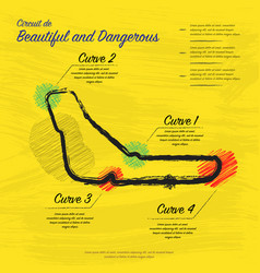 hand draw yellow race track map vector image