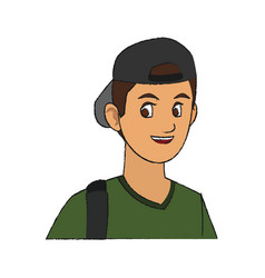 Handsome young man with backwards baseball hat vector