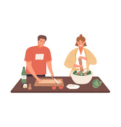 happy couple cooking vegetable salad together vector image