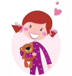 happy girl hugging teddy bear vector image