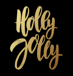 holly jolly lettering phrase for poster card vector image
