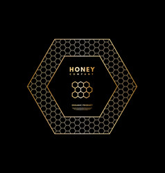 Honey logo with gold gradient honeycombs in frame vector