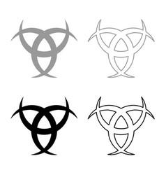 Horn odin triple horn odin icon set black vector